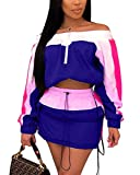 Women's Summer Off Shoulder Zipper up Crop Tops and Loose Short Pants with Tie Jumpsuit Set