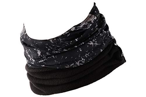 Hilltop Polar Halstuch, Multifunktionstuch, Kopftuch, Schlauchschal, Schal mit Fleece, Cooles Design in Trendfarben, für Damen und Herren, Farbe:Schwarz weiß