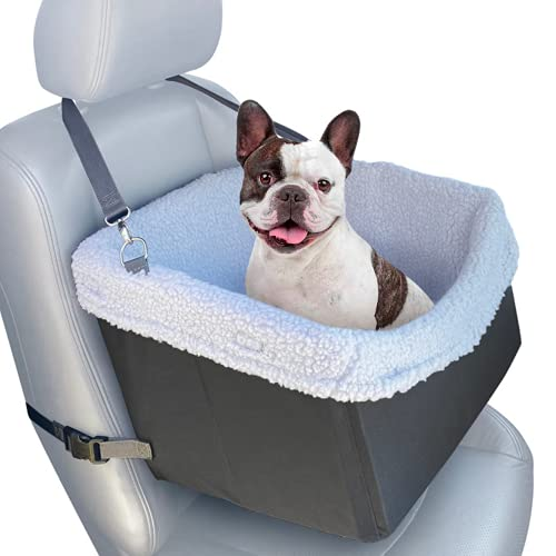Large Cozy Boost Premium Quality Dog Car Booster Seat with Seat Belt Tether for Small to Medium Dogs, Puppies, and Pets (Modern Grey)