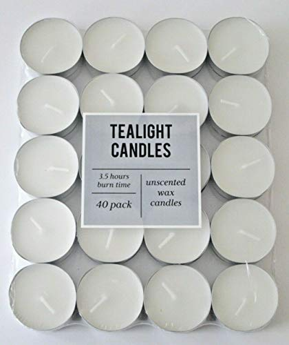 Z-ENTERPRISE (40pk) Tealight Candles | Unscented Tealights | Night Light Candle with Long Hour Burning Time for Centrepieces, Weddings, Christmas, Spa and Home Décor.