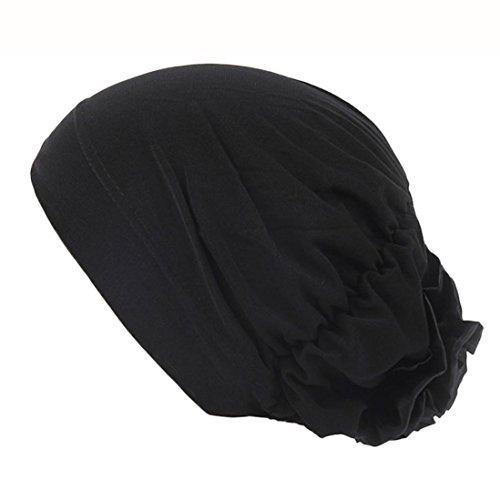 Holeider Hijab Cap, Damen Elegante Rüsche Blume muslimische Kopftuch Chemo Krebs Cap (Schwarz)
