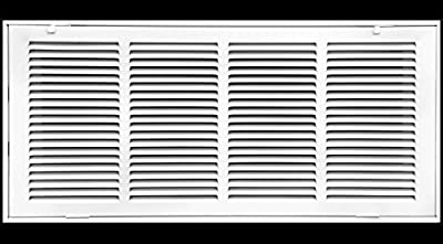 "24"" X 12 Steel Return Air Filter Grille for 1"" Filter - Fixed Hinged - Ceiling Recommended - HVAC Duct Cover - Flat Stamped Face - White [Outer Dimensions: 26.5 X 13.75]"