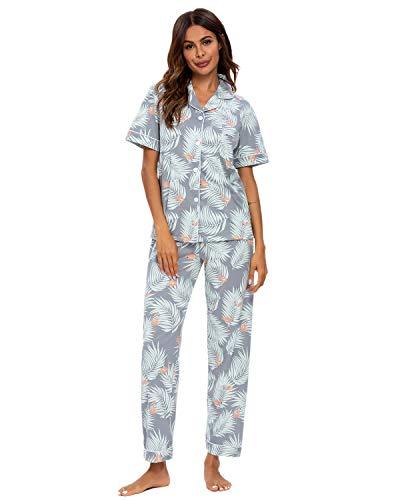 GOSO Pijama para Mujer - Conjunto de Pijama de Manga Cortos Floral para Mujer Pijama de Manga Cortos con Botones para Mujer