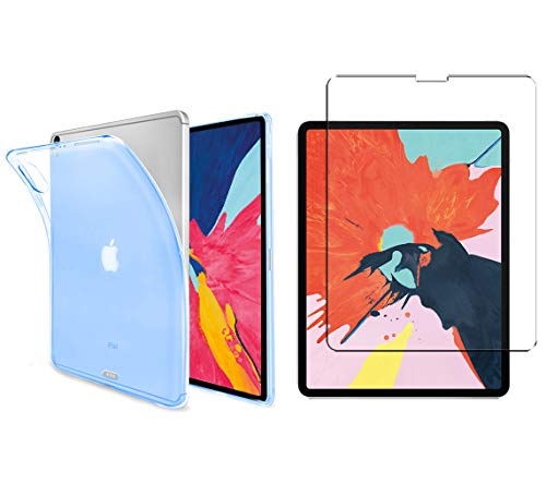 Luch iPad Pro 11 Inch 2018 TPU Protective Case + Tempered Glass Film - Transparent Case Cover Transparent Soft Silicone Crystal Clear Case for Apple iPad Pro 11 Inch Light Blue