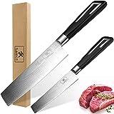 Set di coltelli da cucina Swakit, coltello da chef professionale da 5 pollici e 7 pollici, coltello multiuso in acciaio inossidabile al carbonio di alta qualità, impugnatura ergonomica e lama affilata