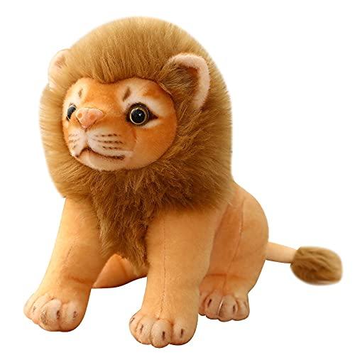 KXCAQ 23cm-28cm Lindo León de Peluche de Juguete Animal de Bosque simulado Niños Muñeca Decoración de la habitación Regalo de cumpleaños para niños Juguetes para niños 23cm Sentarse