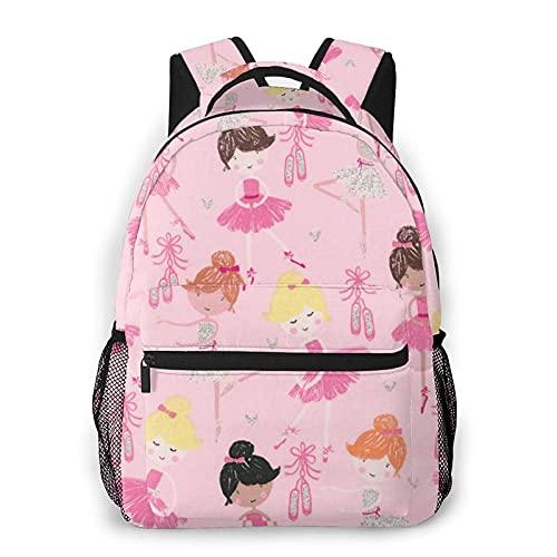 Jupsero Mochila para hombres y mujeres, mochilas informales de ballet rosa con purpurina, bolso de viaje para mochilas