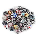 Five (5) Pack of Assorted Antique Silver Tone And Crystal Rhinestone Charm...
