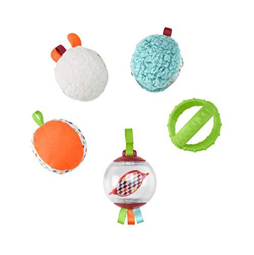 Fisher-Price Bolitas blandas activity, 5 bolas de juguete para estimulación de los sentidos del bebé recién nacido (Mattel FXC32)