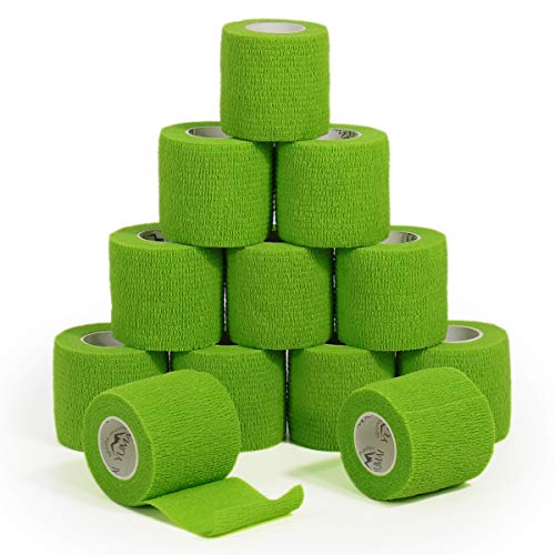 YuMai Vendaje Autoadhesivo (Primeros Auxilios Cinta Adhesiva, 5 cm × 4,5 m Pack de 12 aprobado por la FDA - Débil Verde