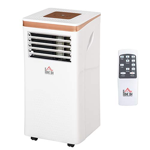 HOMCOM Condizionatore Portatile Deumidificatore con Telecomando, Timer 24h e 2 Velocità, 785W Classe Energetica A, 7000BTU, 35.5x34x70cm Bianco
