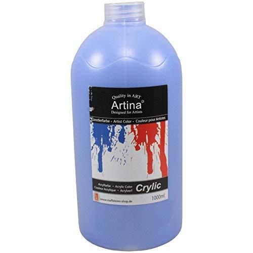 Artina Crylic Acrylfarben - hochwertige Künstler-Malfarbe in 1000 ml Flaschen in Kobaltblau & weitere Farben