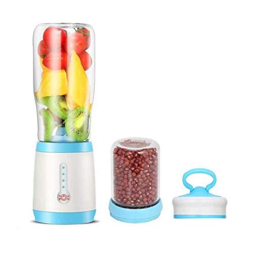 Máquinas de expresión, taza de exprimidor portátil, juicie y pulido 2 en 1 mezclador de frutas eléctricas con 4 piezas de acero inoxidable y recargable USB, acero inoxidable 304 (color: azul) peng
