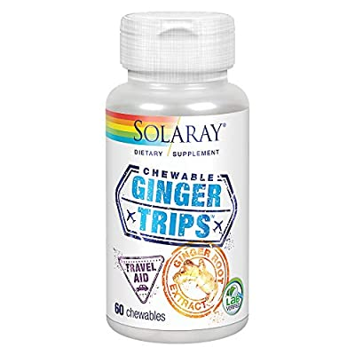 Solaray Ginger Trips Travel Aid | Root Extract | Healthy Digestive Support w/Honey, Stevia & Molasses | 60 Chewables