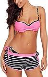 CheChury Costume da Bagno Donna a Fascia Push-up Imbottito Reggiseno Costumi Sexy Bikini Mare Estate Swimsuit Tre Pezzi Bikini con Pantaloncino