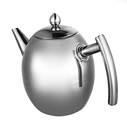 Edelstahl Teekanne, 1,5L Tee-Töpfe Kaffeekanne Teekessel Wasserkessel, mit Filter, keine Undichtigkeit, Silber