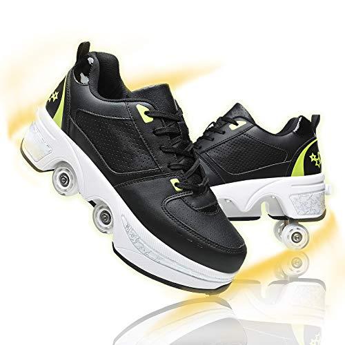 Zapatos Multiusos 2 En 1 Patines 4 Ruedas Adultos Profesionales Skate Ligeros...