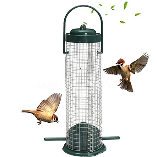 Ifukens バードフィーダー 野鳥 小鳥 鳥の餌箱 吊り下げ おしゃれ メタルネット プラスチック製 スタンド インコ 文鳥 給餌器 餌入れ 自動給餌器 野鳥観察 餌台 餌場 鳥用品 ペット用品 Bird Feeder