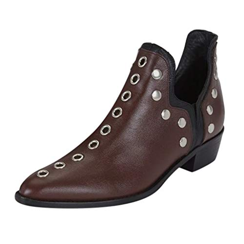 WHSHINE Vintage Punk Gothic Nieten Ankle Biker Stiefel Chelsea Boots für Damen - Spitzschuh Kurze Stiefeletten Blockabsatz Lederschuhe