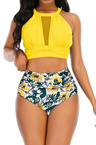 Adisputent Womens High Waisted Bikini Mesh Halter Top Sexy Plunge Backless High Neck Swimwear Two Piece Bathing Suits Yellow Flower M