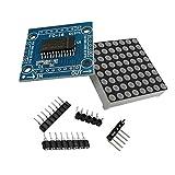 ARCELI MAX7219 Red LED Dot Matrix Módulo de Pantalla de Control MCU Kit de Bricolaje con 1x8 Agujero Redondo Hembra encabezado 5P Looper para Arduino