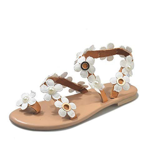 Mayou Women's Flat Gladiator Sandals, Bohemia Toe Ring Flip Flops with Beaded Pearl Daisy Flower Casual for Wedding Summer Beach Oceanside Holiday Outdoor (7.5 M US, White)