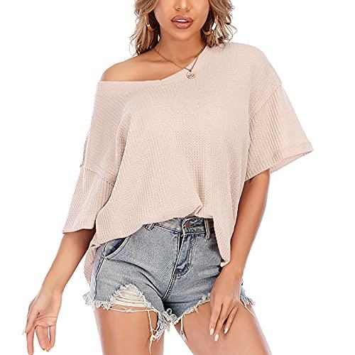 FMYONF Elegante blusa de verano con cuello en V, manga corta, hombros fríos, túnica, suelta, de punto, para mujer beige M
