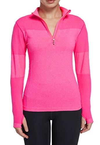 Women Running Shirts Long Sleeve Yoga Jacket Lightweight Half Zip Pullover Athletic Pink L