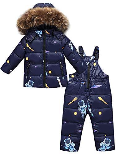 ZOEREA Kinder Bekleidungsset Junge Mädchen Süß Schneeanzug mit Kaputze Daunenjacke + Daunenhose 2tlg Verdickte Skianzug Winterjacke Dunkelblau, Etikett 110