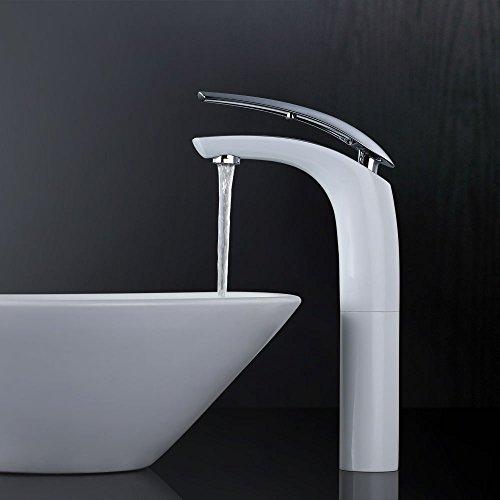 Homelody Weiß Chrom Waschtischarmatur hoch Wasserhahn Bad Armatur Badzimmer Einhebelmischer Badarmatur Waschbecken Waschtisch Mischbatterie