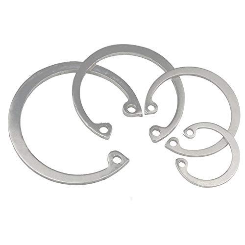 Anillos de retención de acero inoxidable YINSONG 10pcs - Anillo de clip de retención de clip interno tipo C con clip para agujeros Conjunto de surtido, Tamaño: 42 mm, Plateado