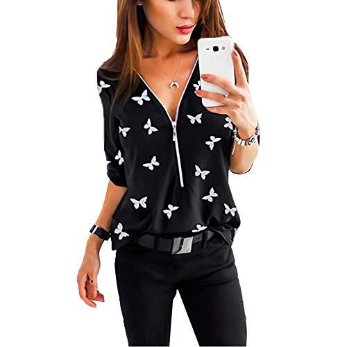 Minetom Schwarz Damen Oberteile Floral Chiffon Bluse Langarm V Ausschnitt Reißverschluss Freizeit Blusen Shirt Tops M