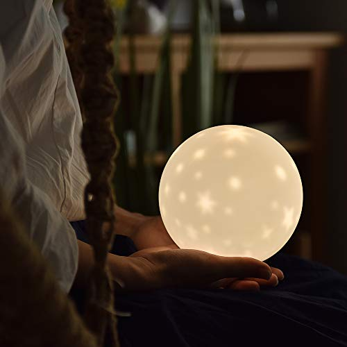 SALCAR Kinder Sternenhimmel Nachtlicht mit 6 Beleuchtungsmodi und 3 dimmbaren Helligkeitsstufen, Wiederaufladbare Silikon Projektor Schlummerlampe, Batteriebetriebene LED Nachttischlampe