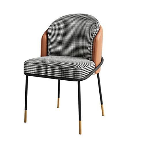 BHGKO Nordic Dining Chair Moderner einfacher Plaidstuhl aus Baumwolle und Leinen Wohnzimmermöbel Bürostühle Schlafzimmer Dressing Lounge Chair (Color : A)