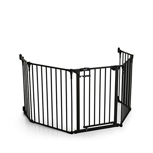 Hauck Fireplace Guard XL Kaminschutzgitter für Kinder, für Hunde und Katzen/ 2,67 m lang und 75 cm hoch/inklusive Material zur Befestigung/mit Tür, aus beschichtetem Metall, schwarz grau anthrazit
