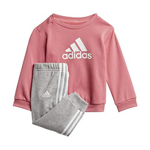 adidas I BOS Jog FT Chndal, Top:Hazy Rose/White Bottom:Medium Grey Heather/White, 6 Mes Unisex bebé