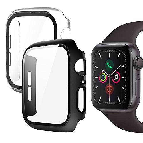 Compatible con Apple Watch Series 6 Series 5 Series 4 SE 40mm Protector de Pantalla, 2 Pack Anti-caída PC Funda HD Protección Completa Carcasa para iWatch para Mujeres y Niñas (Transparente + Negro)