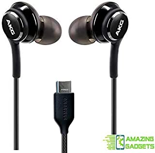 OEM Amazing 2019 Stereo Headphones for Samsung Galaxy Note 10 Note 10+ S10 Plus S9 Note 8 S9+ S10e S10 Braided Cable - Designed by AKG - with Microphone (Black) USB-C Connector