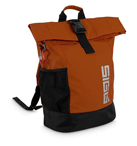 SIGG Rolltop Backpack Medium, Rucksack 18 L mit Klickgurt, Lifestyle, Job, Schule (Orange)