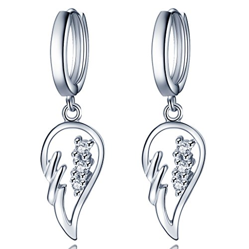 Unendlich U Fashion 925 Sterling Silber Damen Ohrhänger Engelflügel Zirkonia Ohrringe Earrings