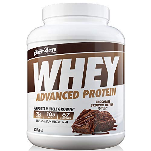 per4m Protein Whey Powder | 67 Servings of High Protein Shake with Amino Acids | for Optimal Nutrition When Training | Low Sugar Gym Supplements (Chocolate Brownie Batter, 2010g)