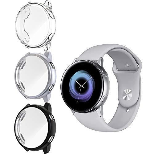 NEWZEROL NUR für Samsung Galaxy Watch Active hülle 40mm (Nicht Active 2) 3 Pack Bildschirmschutzfolie case Weiche Superdünne TPU Bildschirmschutz HD Anti Scratch All-Aro& schutzfolie – Klar+Schwarz+Grau