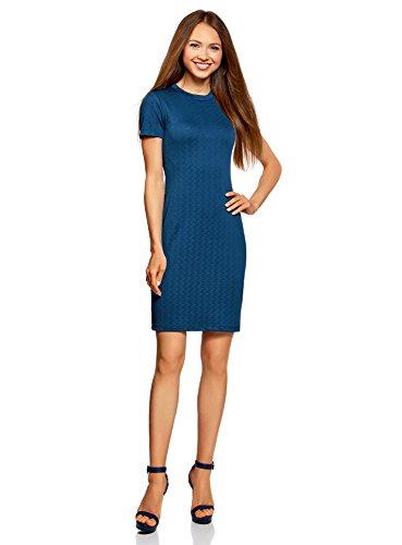 oodji Ultra Mujer Vestido Ajustado con Cremallera, Azul, ES 36 / XS