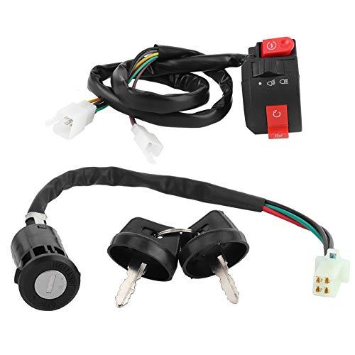 Interruptor de encendido, accesorio de TV, interruptor de apagado del manillar con 2 llaves Universal para 50cc 70cc 90cc 110cc 125cc para su vehículo