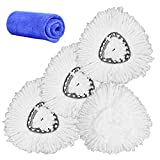3 Pack Spin Mop Head Replacement, Intrbleu Thicken Microfiber Mop Refill Heads, Super Water Absorbent Easy Cleaning, Includes 1 Wipe Cloth (White)