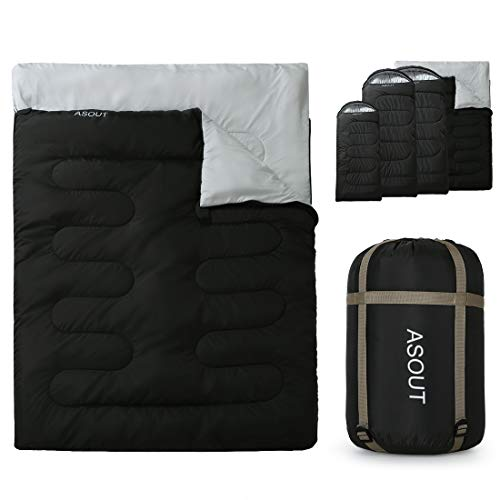 ASOUT Double Sleeping Bag for Adults Camping, Hiking, Backpacking, Extra-Wide, Portable, Comfort, Great for 4 Season Warm & Cold Weather(59'x87')
