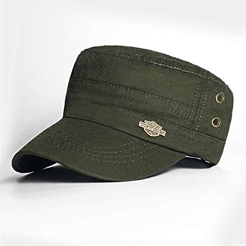 Bleswin Premium Army Cap Military Style Army Hat für Herren, Low Profile Cotton Flat Top Army Military Cadet Cap Hat Baseball Cap Einheitsgröße armee-grün