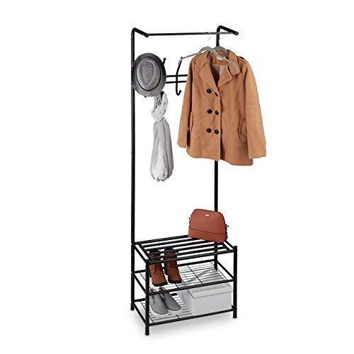 Relaxdays kapstok met schoenenrek, vrijstaand, hal, staande garderobe, metaal, HxBxD: 183 x 61 x 34 cm, zwart, staal, 1 stuk