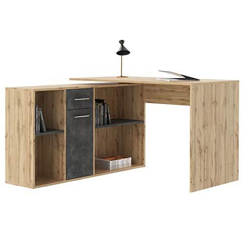 IDIMEX Escritorio de esquina Carmen Mesa con mueble de almacenaje integrado y modular con 4 estantes 1 puerta y 1 cajón, decoración roble salvaje y hormigón oscuro