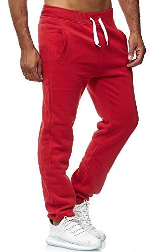 EGOMAXX Herren Jogging Hose Fit & Home Sweat Pants leichte Sporthose Vers.1, Farben:Rot, Größe Hosen:XL